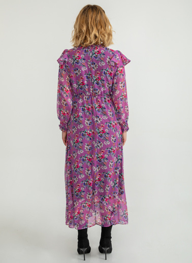 Foremia Çiçek Desen Volanlı Uzun Elbise Pembe